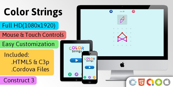 Color Strings - HTML5 Game (Construct 3 | C3p) - Puzzle Game str8face - CodeCanyon Item for Sale