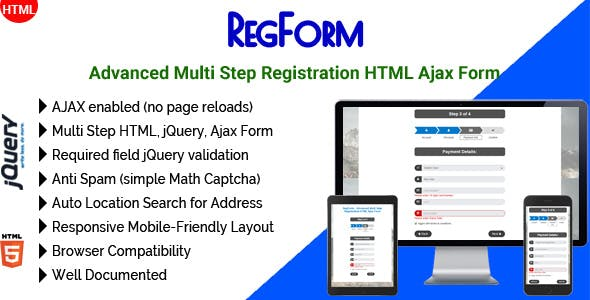 RegForm - Advanced Multi Step Registration HTML Ajax Form