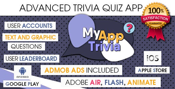 Advanced Trivia Quiz App with CMS & AdMob + GDPR - Android & iOS