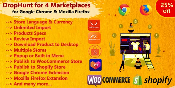DropHunt for 4 Marketplaces(WooCommerce & Shopify) Google Chrome Extension