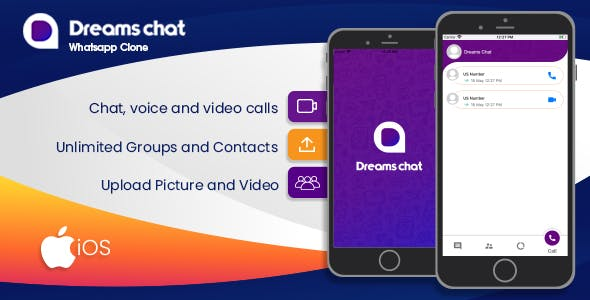 DreamsChat - WhatsApp Clone - Native IOS App with Firebase chat