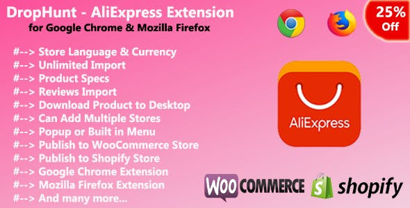 DropHunt - AliExpress(WooCommerce & Shopify) Google Chrome Extension