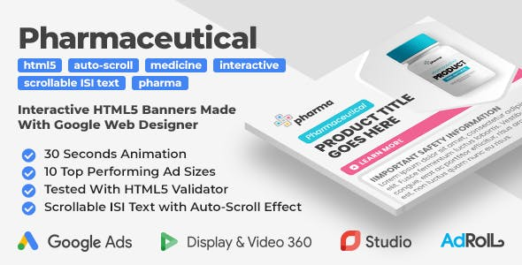 Pharmaceutical Animated HTML5 Banner Ad Templates With Scrollable ISI Text & Auto-Scroll (GWD)