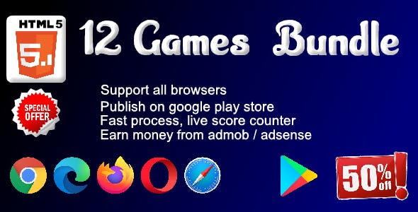 HTML5 - 12 games Bundle ( Support android, iOS, computer browsers )