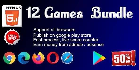 HTML5 - 12 games Bundle ( Support android, iOS, computer browsers ) - CodeCanyon Item for Sale