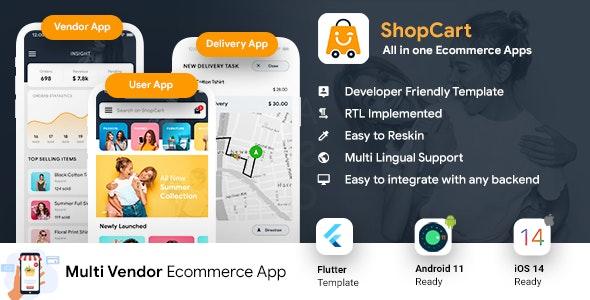 NEW eCommerce Flutter App Template | 3 Apps | User App + Vendor App + Delivery App | ShopCart - CodeCanyon Item for Sale
