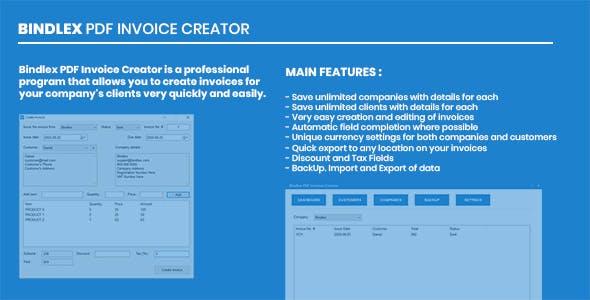 Bindlex PDF Invoice Creator