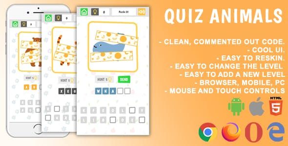 Quiz Animals. Mobile, Html5 Game. .c3p (Construct 3)