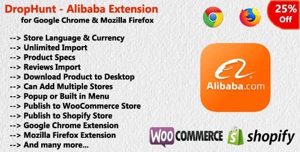 DropHunt - Alibaba(WooCommerce & Shopify) Google Chrome Extension