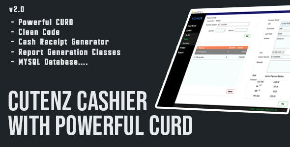 Cutenz CURD C# - Cashier With Cash Receipt Generator - Full Source Code