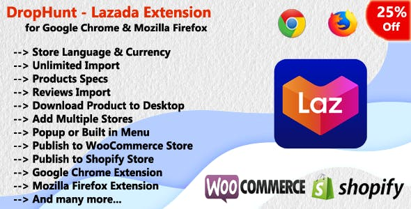 DropHunt - Lazada(WooCommerce & Shopify) Google Chrome Extension