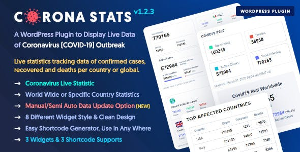 Corona Stats - COVID-19 Coronavirus Live Stats & Widgets for WordPress