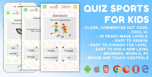 Quiz Sport. For Kids. Mobile, HTML5 Game. .c3p (Construct 3)
