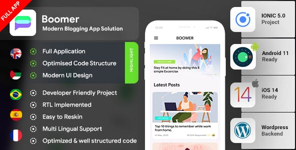 Blog Android App + Blog iOS App IONIC 5 Full Application | Boomer