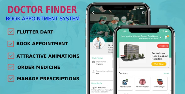 Doctors Finder App | Doctor Appointment Booking App | 4 Apps | Android + iOS | Flutter UI/UX - CodeCanyon Item for Sale