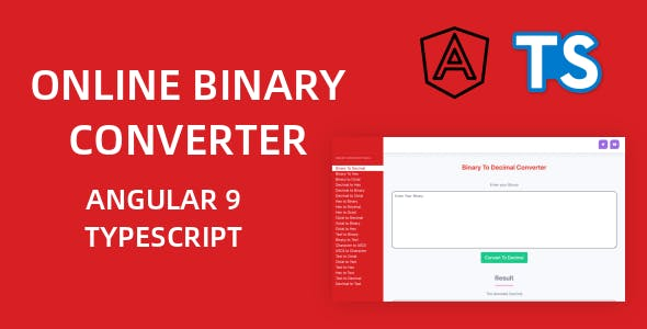 Online Binary Converter Tools Full Production Ready Application (Angular 9)
