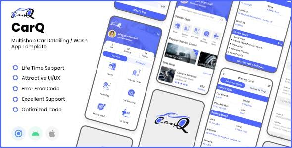 CarQ - Car Wash App Development Vehicle Detailing Ionic 5 Template