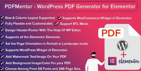 PDFMentor Pro - WordPress PDF Generator for Elementor - CodeCanyon Item for Sale
