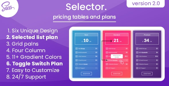 Selector - Pricing Tables and Plans - CodeCanyon Item for Sale