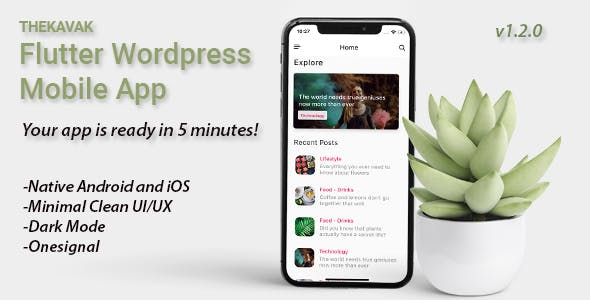 For Wordpress Blogs Flutter App iOS and Android