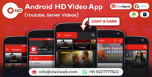 Android HD Video App (Youtube, Server Videos )