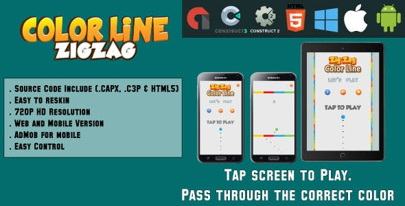 Color Line ZigZag - HTML5 Game - Web & Mobile + AdMob (CAPX, C3p and HTML5)