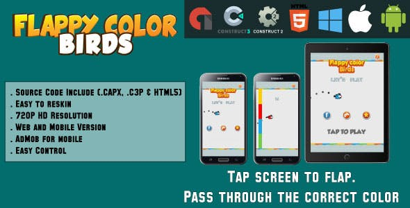Flappy color birds - HTML5 Game - Web & Mobile + AdMob (CAPX, C3p and HTML5)