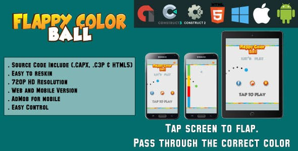 Flappy Color Ball - HTML5 Game - Web & Mobile + AdMob (CAPX, C3p and HTML5)