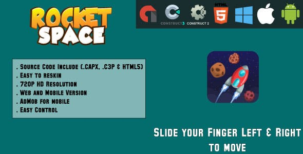 Rocket Space - HTML5 Game - Web & Mobile + AdMob (CAPX, C3p and HTML5)
