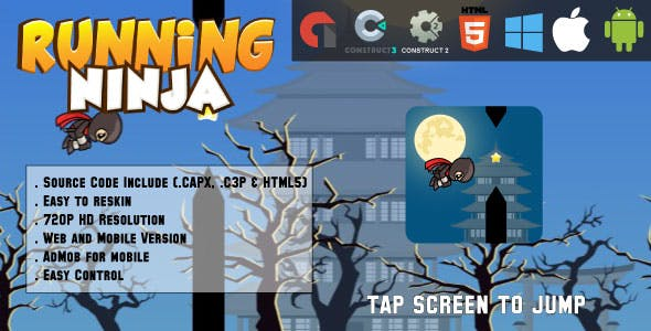 Running Ninja - HTML5 Game - Web & Mobile + AdMob (CAPX, C3p and HTML5)