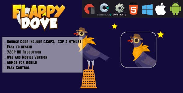 Crazy Flappy Dove - HTML5 Game - Web & Mobile + AdMob (CAPX, C3p and HTML5)