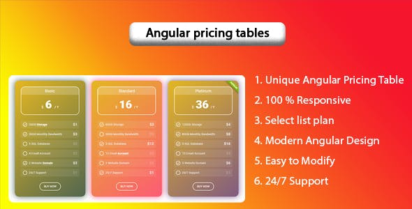 Shakti - Angular pricing tables