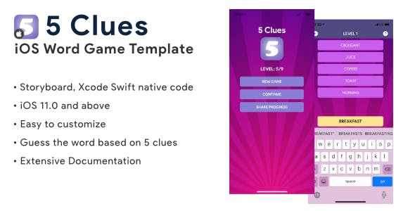 5 Clues | iOS Guess the Word Game Application