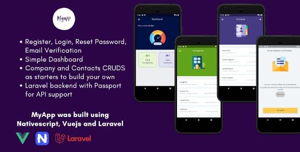 MyApp - NativeScript Vue Mobile App with Laravel Backend