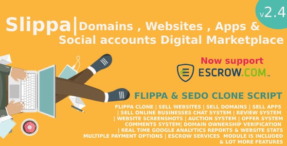 Slippa - Domains,Website ,App & Social Media Marketplace PHP Script