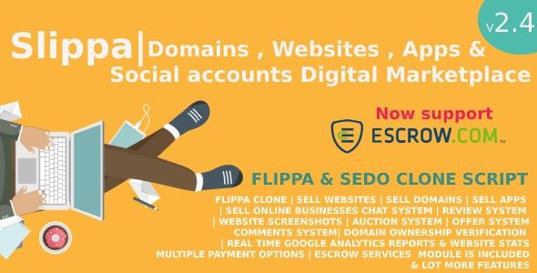 Slippa - Domains,Website ,App & Social Media Marketplace PHP Script - CodeCanyon Item for Sale