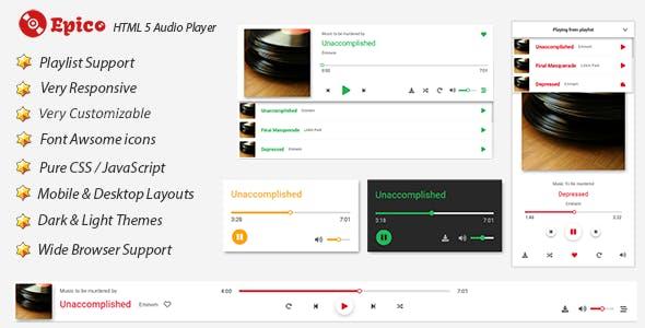 Epico - HTML 5 Pure JS & CSS Audio Player