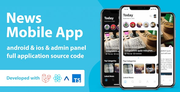 News Mobile Application with Admin Panel | React Native & PHP Laravel - CodeCanyon Item for Sale