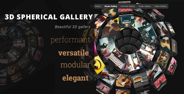 3D Spherical Gallery - Advanced Media Gallery