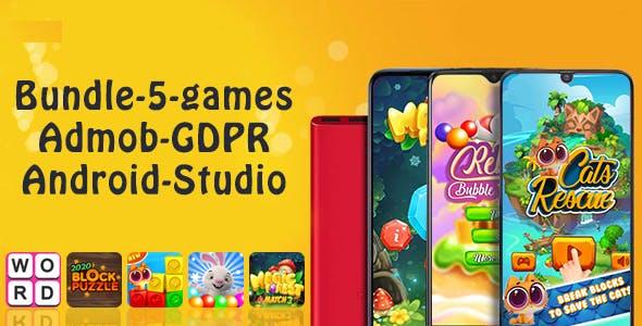 Bundle#1 , 5 Games (Admob + GDPR + Android Studio)