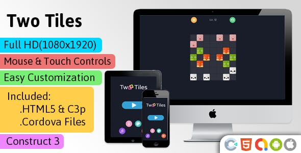 Two Tiles - HTML5 Game (Construct 3 | C3p) - Puzzle Game Str8face