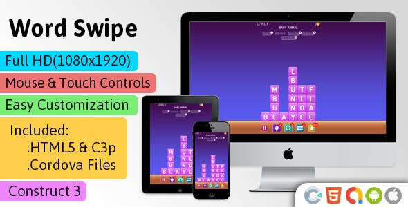 Word Swipe - HTML5 Game ( Construct 3 | C3p) - Word Puzzle Game str8face