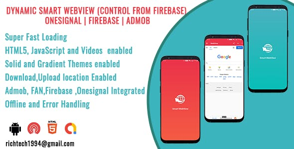 Dynamic Smart Webview (Control from Firebase) | Onesignal | Firebase | Admob