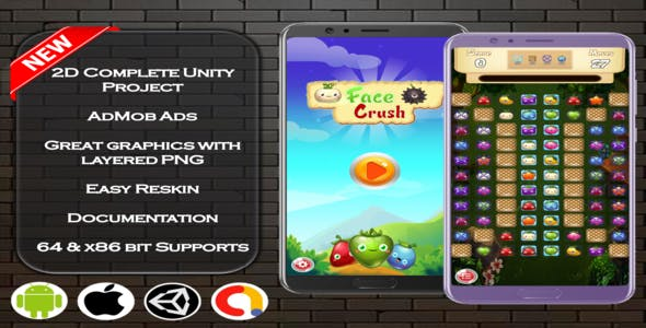 Face Crush Complete Unity Project + Admob