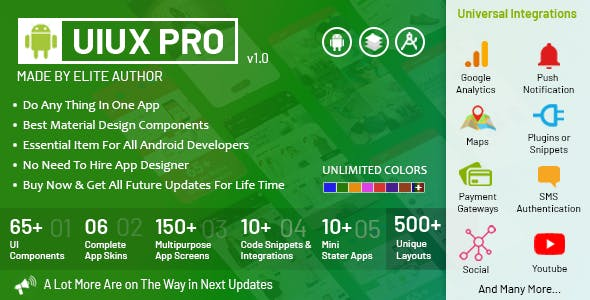 UIUX PRO - Android Material Design UI Components, App Screens, Code Snippets, App Skins & Mini Apps
