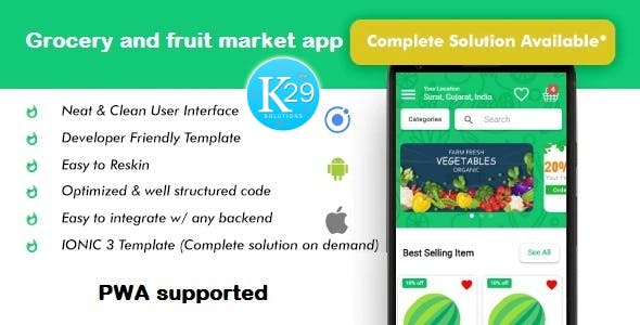 Grocery and fruit market ionic 3 app template (Android - IOS - PWA)