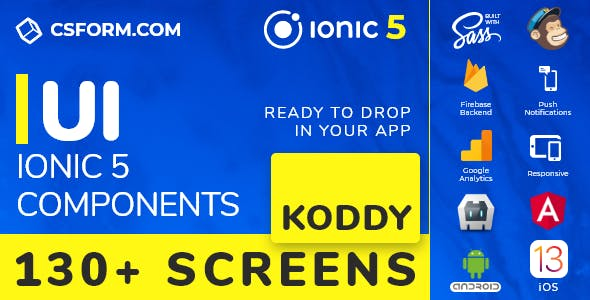 Koddy | Ionic 5 / Angular 10 UI Theme / Template App | Components & Starter App