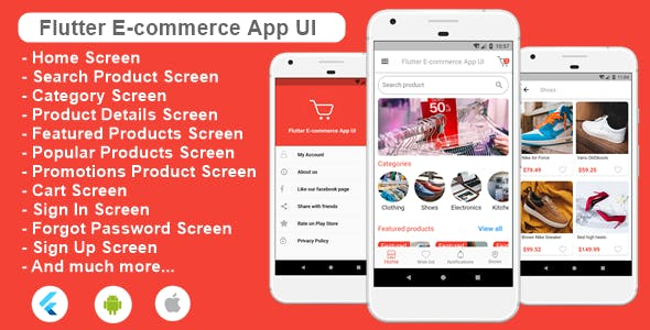 Flutter Ecommerce App UI Template for Android and iOs