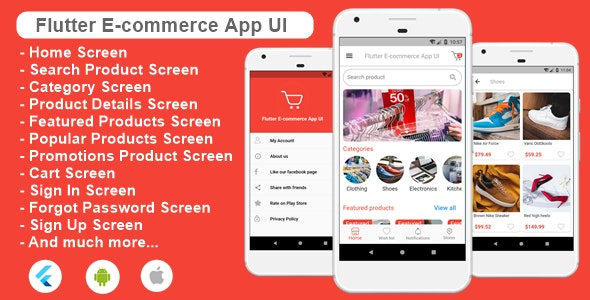 Flutter Ecommerce App UI Template for Android and iOs - CodeCanyon Item for Sale