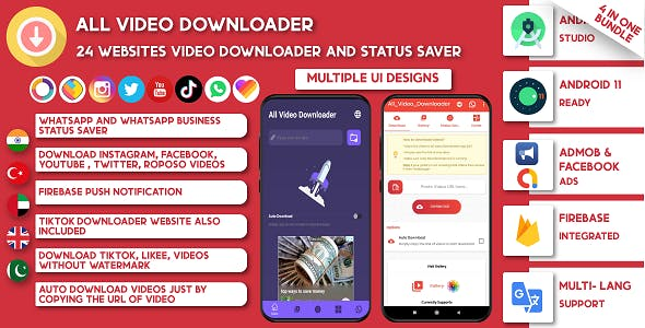 All Video Downloader & Story Saver | 39 Websites Support-Snackvideo, Whatsapp, Tiktok, Instagram, FB